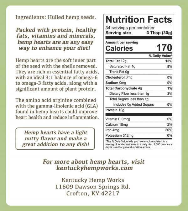 Hulled Hemp Hearts Nutrition Facts